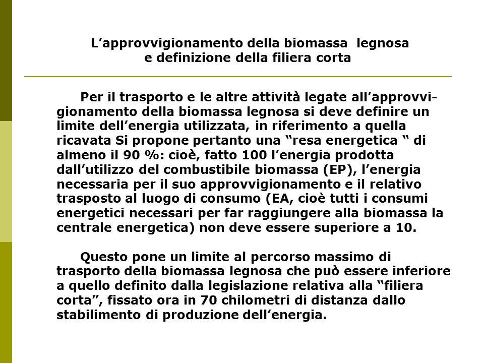 L'approvvigionamento della biomassa legnosa e definizione della filiera corta Per il trasporto e le altre attività legate all'approvvi- gionamento della biomassa legnosa si deve definire un limite dell'energia utilizzata, in riferimento a quella ricavata Si propone pertanto una resa energetica di almeno il 90 %: cioè, fatto 100 l'energia prodotta dall'utilizzo del combustibile biomassa (EP), l'energia necessaria per il suo approvvigionamento e il relativo trasposto al luogo di consumo (EA, cioè tutti i consumi energetici necessari per far raggiungere alla biomassa la centrale energetica) non deve essere superiore a 10.