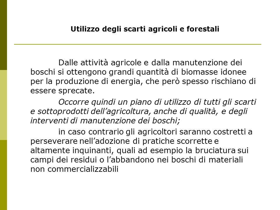 Utilizzo degli scarti agricoli e forestali Dalle attività agricole e dalla manutenzione dei boschi si ottengono grandi quantità di biomasse idonee per la produzione di energia, che però spesso rischiano di essere sprecate.