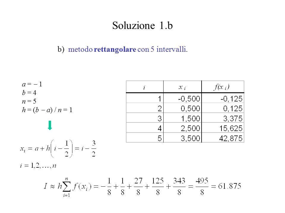 Soluzione 1.b b) metodo rettangolare con 5 intervalli. a =  1 b = 4 n = 5 h = (b  a) / n = 1