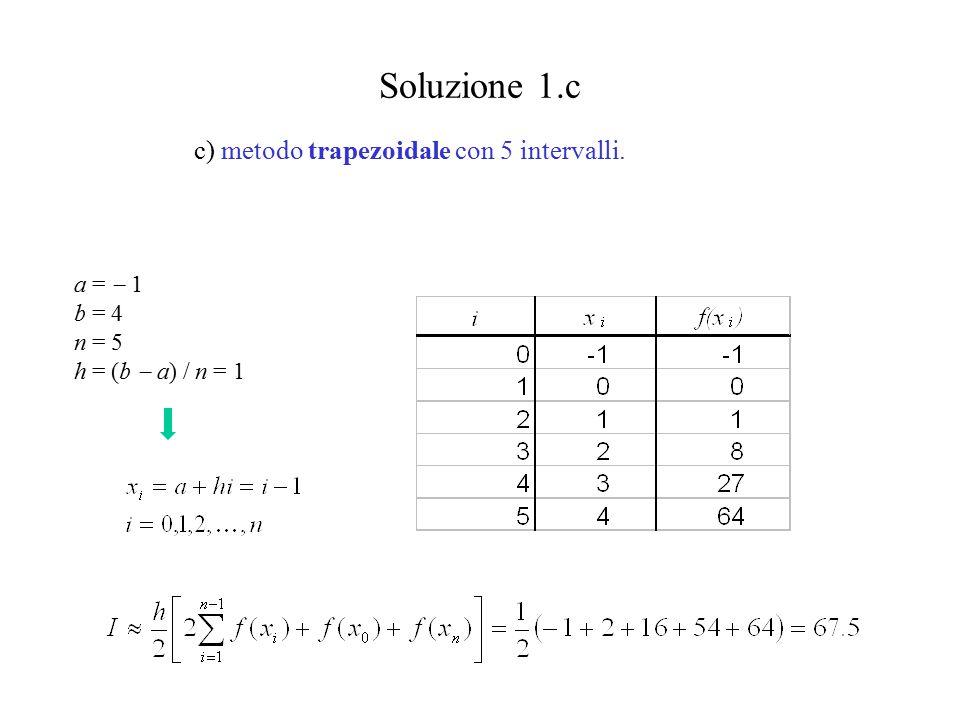 Soluzione 1.c c) metodo trapezoidale con 5 intervalli. a =  1 b = 4 n = 5 h = (b  a) / n = 1