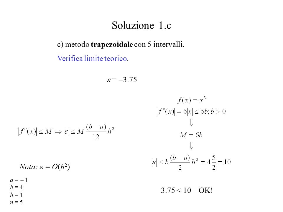 Soluzione 1.d d) regola di Simpson con 2 intervalli. a =  1 b = 4 n = 2 h = (b  a) / n = 2.5