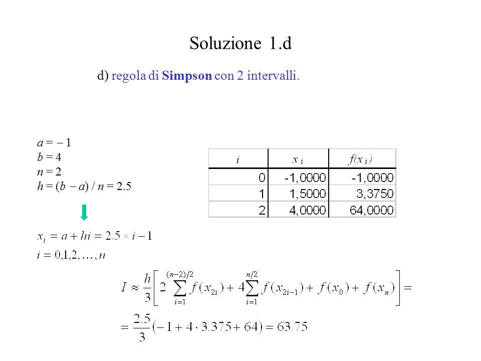 Soluzione 1.d d) regola di Simpson con 2 intervalli.