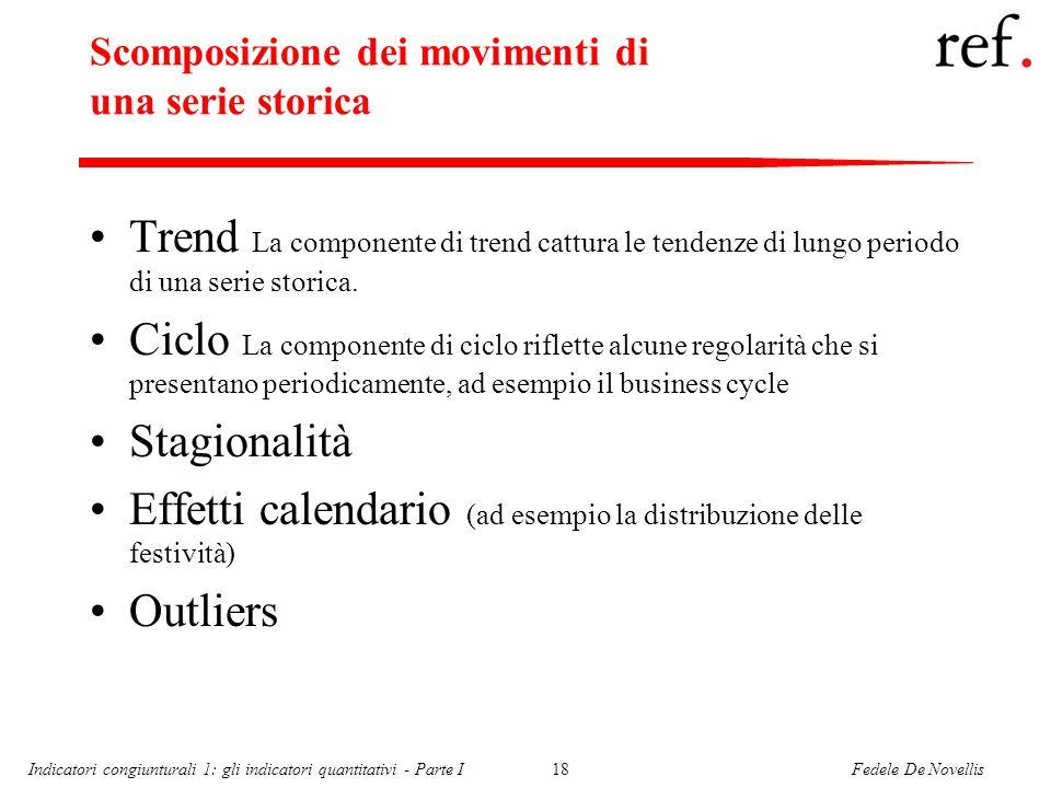 Fedele De NovellisIndicatori congiunturali 1: gli indicatori quantitativi - Parte I18 Scomposizione dei movimenti di una serie storica Trend La componente di trend cattura le tendenze di lungo periodo di una serie storica.