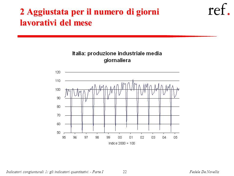 Fedele De NovellisIndicatori congiunturali 1: gli indicatori quantitativi - Parte I22 2 Aggiustata per il numero di giorni lavorativi del mese