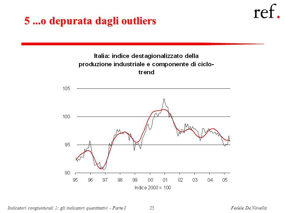 Fedele De NovellisIndicatori congiunturali 1: gli indicatori quantitativi - Parte I25 5...o depurata dagli outliers
