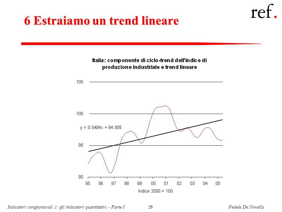 Fedele De NovellisIndicatori congiunturali 1: gli indicatori quantitativi - Parte I26 6 Estraiamo un trend lineare