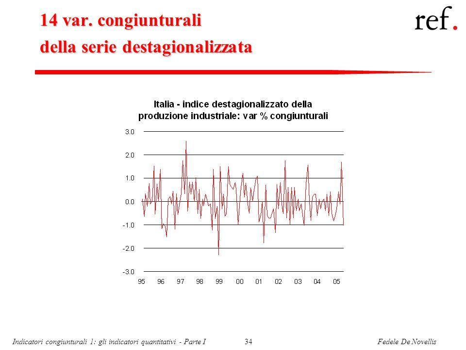 Fedele De NovellisIndicatori congiunturali 1: gli indicatori quantitativi - Parte I34 14 var.