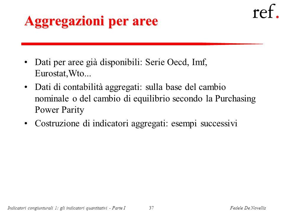 Fedele De NovellisIndicatori congiunturali 1: gli indicatori quantitativi - Parte I37 Aggregazioni per aree Dati per aree già disponibili: Serie Oecd, Imf, Eurostat,Wto...