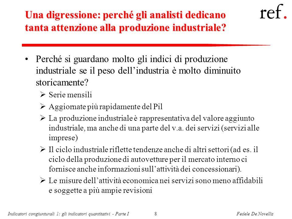 Fedele De NovellisIndicatori congiunturali 1: gli indicatori quantitativi - Parte I8 Una digressione: perché gli analisti dedicano tanta attenzione alla produzione industriale.