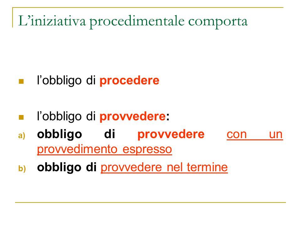 L'iniziativa procedimentale comporta l'obbligo di procedere l'obbligo di provvedere: a) obbligo di provvedere con un provvedimento espresso b) obbligo di provvedere nel termine