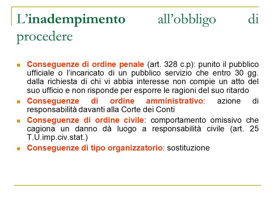 L'inadempimento all'obbligo di procedere Conseguenze di ordine penale (art.