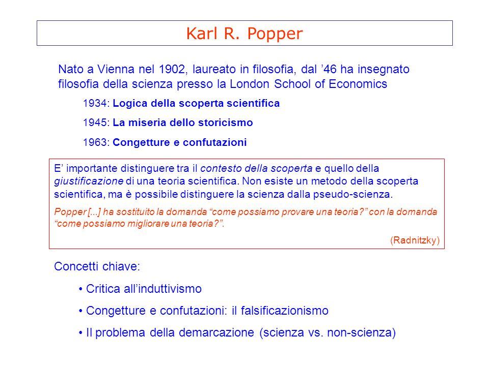 Karl R. Popper Nato a Vienna nel 1902, laureato in filosofia, dal '46 ha insegnato filosofia della scienza presso la London School of Economics 1934: