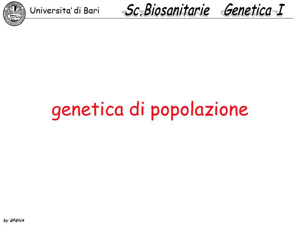 distribuzione binomiale delle frequenze genotipiche Se le coppie di alleli sono combinate a caso, la probabilità dei differenti genotipi è: MM = 0,76 x 0,76 = 0,58 MN = 0,76 x 0,24 = 0,18 NM = 0,24 x 0,76 = 0,18 NN = 0,24 x 0,24 = 0,06 0,36 Universita' di Bari by GP&NA