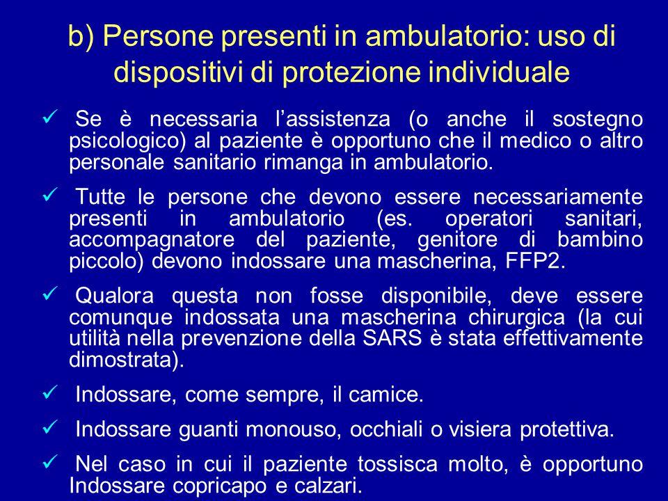 Se è necessaria l'assistenza (o anche il sostegno psicologico) al paziente è opportuno che il medico o altro personale sanitario rimanga in ambulatorio.
