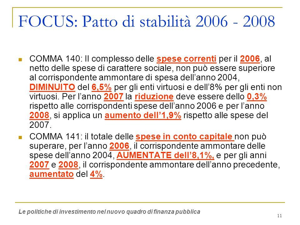 11 FOCUS: Patto di stabilità 2006 - 2008 COMMA 140: Il complesso delle spese correnti per il 2006, al netto delle spese di carattere sociale, non può essere superiore al corrispondente ammontare di spesa dell'anno 2004, DIMINUITO del 6,5% per gli enti virtuosi e dell'8% per gli enti non virtuosi.