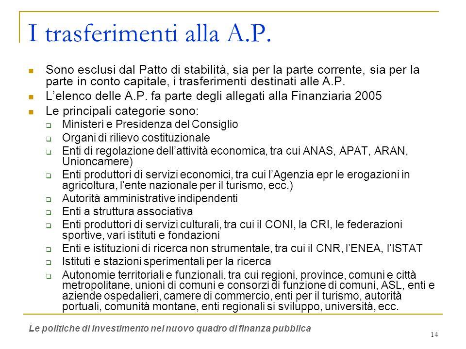 14 I trasferimenti alla A.P.