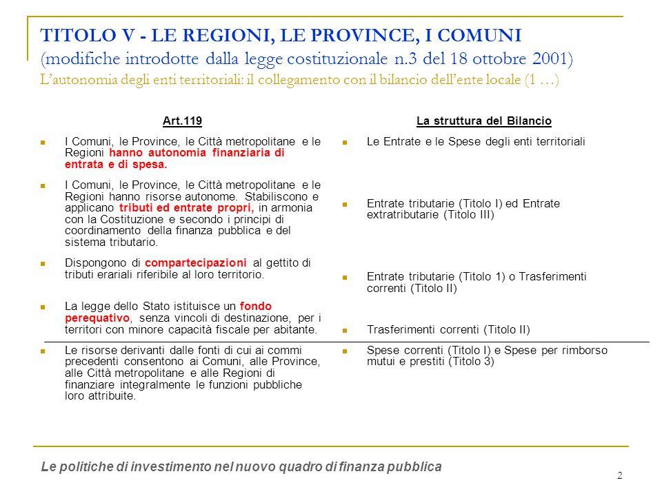 2 TITOLO V - LE REGIONI, LE PROVINCE, I COMUNI (modifiche introdotte dalla legge costituzionale n.3 del 18 ottobre 2001) L'autonomia degli enti territoriali: il collegamento con il bilancio dell'ente locale (1 …) Art.119 I Comuni, le Province, le Città metropolitane e le Regioni hanno autonomia finanziaria di entrata e di spesa.