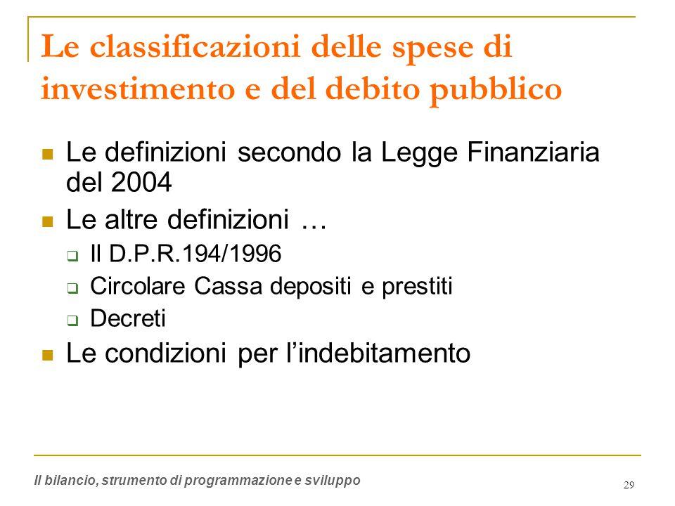 29 Le classificazioni delle spese di investimento e del debito pubblico Le definizioni secondo la Legge Finanziaria del 2004 Le altre definizioni …  Il D.P.R.194/1996  Circolare Cassa depositi e prestiti  Decreti Le condizioni per l'indebitamento Il bilancio, strumento di programmazione e sviluppo