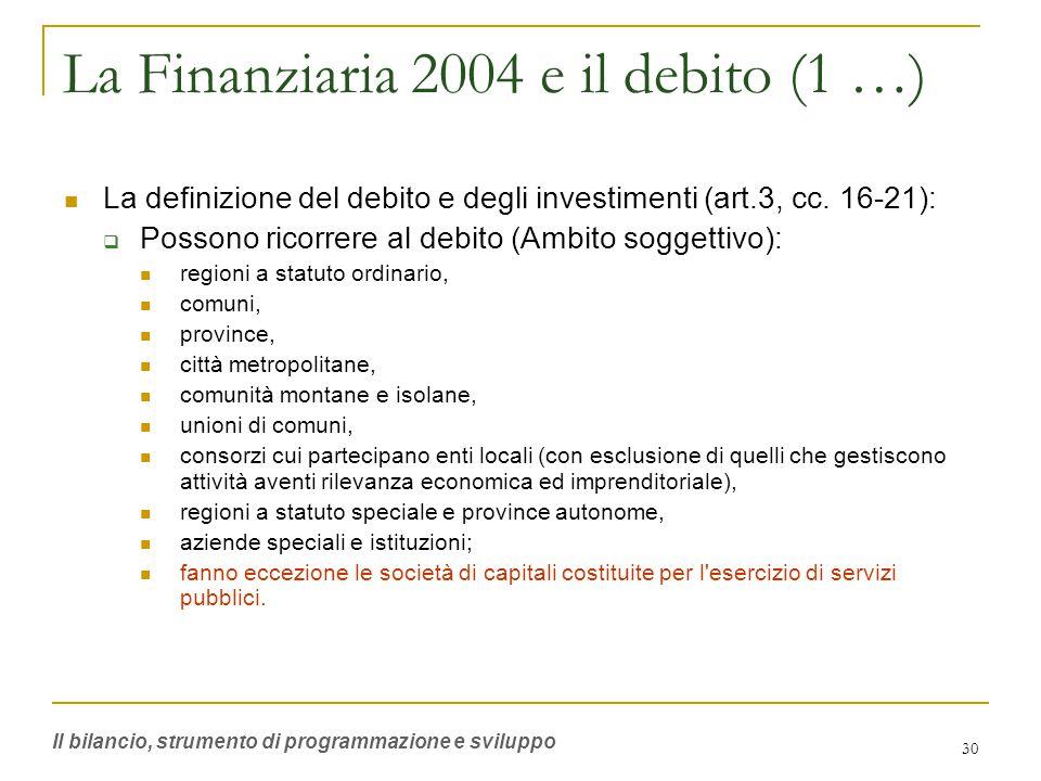 30 La Finanziaria 2004 e il debito (1 …) La definizione del debito e degli investimenti (art.3, cc.