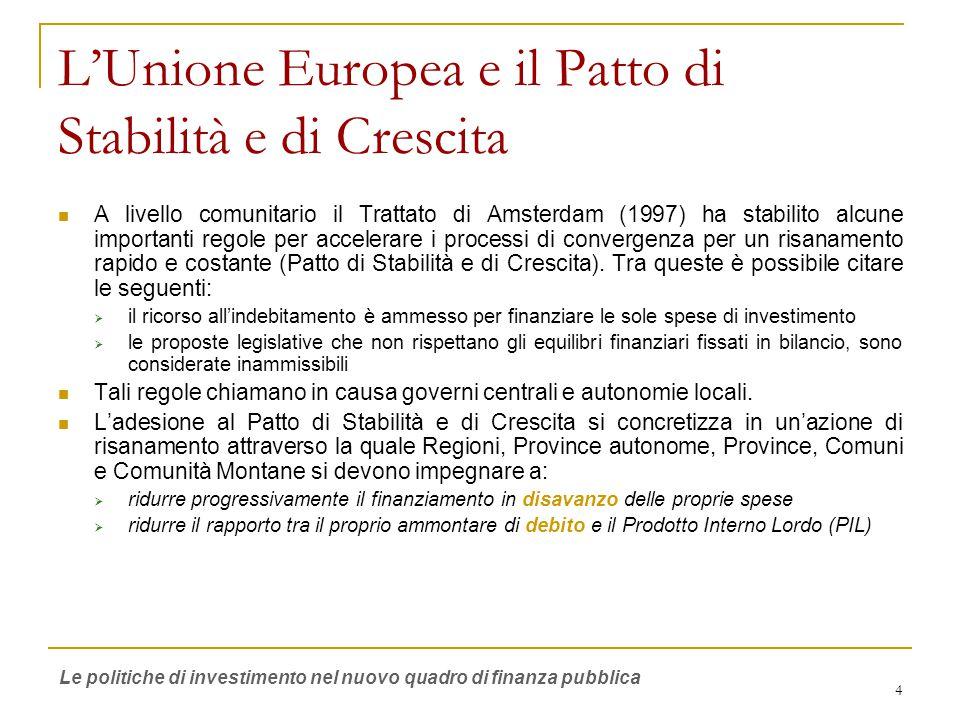 4 L'Unione Europea e il Patto di Stabilità e di Crescita A livello comunitario il Trattato di Amsterdam (1997) ha stabilito alcune importanti regole per accelerare i processi di convergenza per un risanamento rapido e costante (Patto di Stabilità e di Crescita).