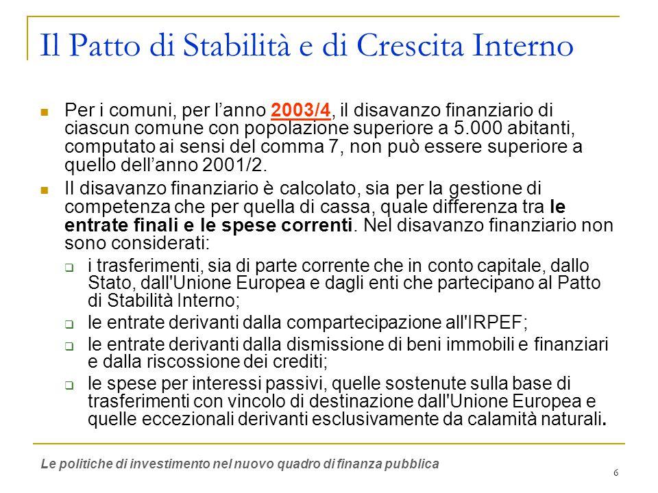 6 Il Patto di Stabilità e di Crescita Interno Per i comuni, per l'anno 2003/4, il disavanzo finanziario di ciascun comune con popolazione superiore a 5.000 abitanti, computato ai sensi del comma 7, non può essere superiore a quello dell'anno 2001/2.