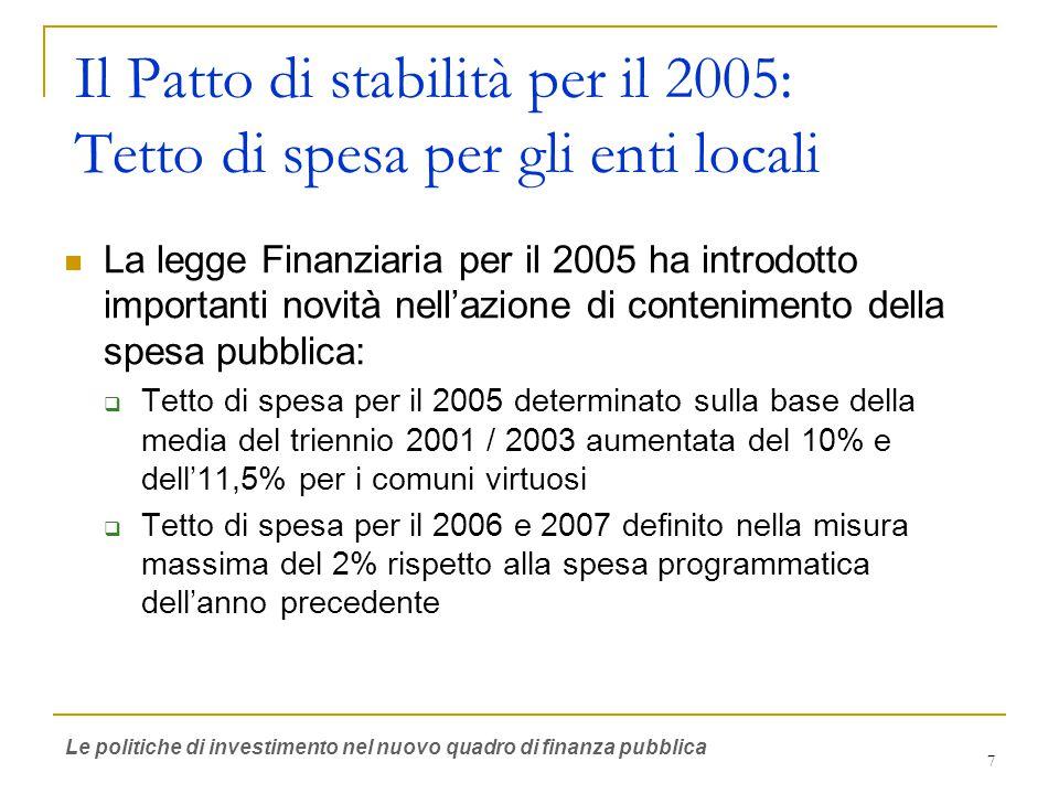 7 Il Patto di stabilità per il 2005: Tetto di spesa per gli enti locali La legge Finanziaria per il 2005 ha introdotto importanti novità nell'azione di contenimento della spesa pubblica:  Tetto di spesa per il 2005 determinato sulla base della media del triennio 2001 / 2003 aumentata del 10% e dell'11,5% per i comuni virtuosi  Tetto di spesa per il 2006 e 2007 definito nella misura massima del 2% rispetto alla spesa programmatica dell'anno precedente Le politiche di investimento nel nuovo quadro di finanza pubblica