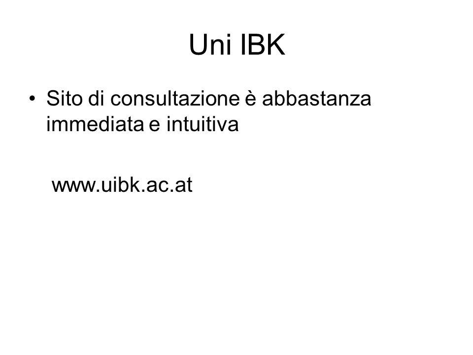 Uni IBK Sito di consultazione è abbastanza immediata e intuitiva www.uibk.ac.at