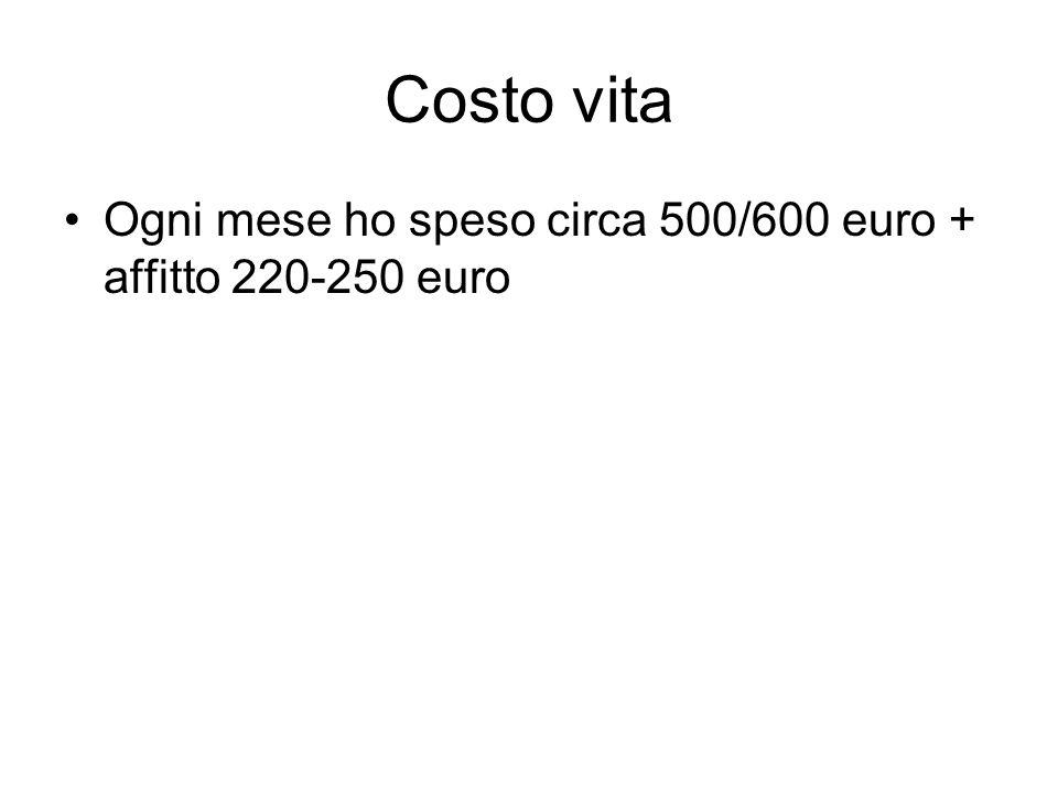Costo vita Ogni mese ho speso circa 500/600 euro + affitto 220-250 euro
