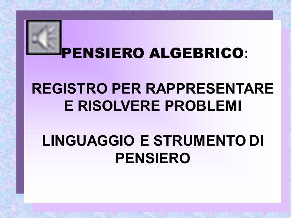 PENSIERO ALGEBRICO : REGISTRO PER RAPPRESENTARE E RISOLVERE PROBLEMI LINGUAGGIO E STRUMENTO DI PENSIERO