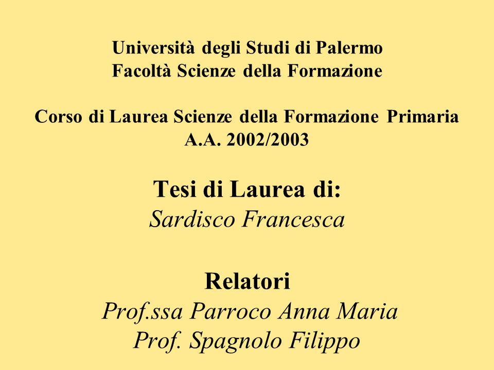 Università degli Studi di Palermo Facoltà Scienze della Formazione Corso di Laurea Scienze della Formazione Primaria A.A. 2002/2003 Tesi di Laurea di: