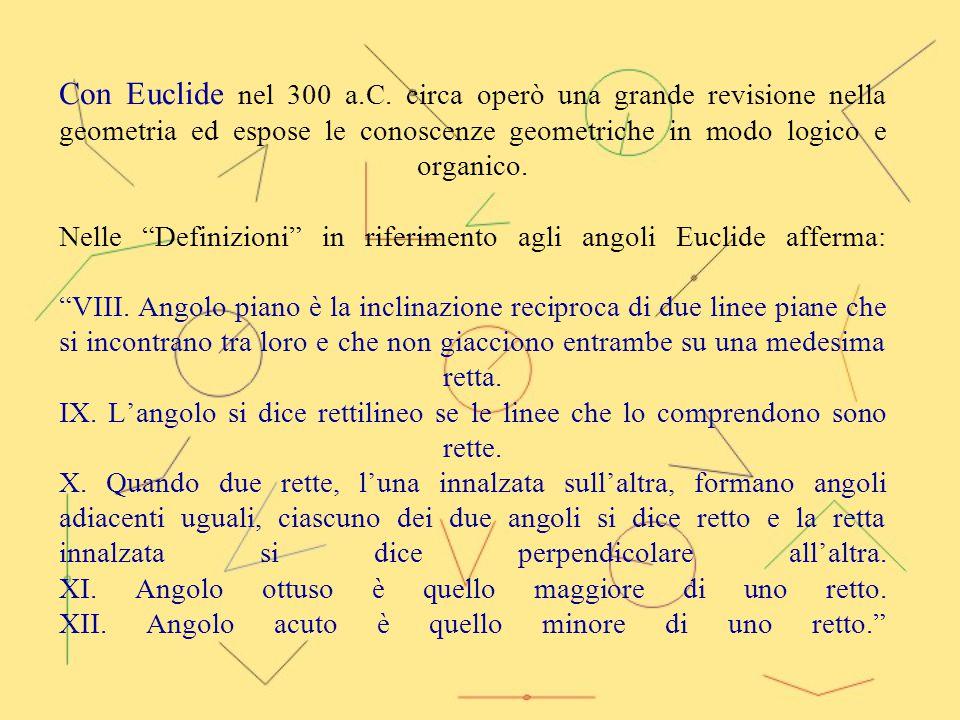 """Con Euclide nel 300 a.C. circa operò una grande revisione nella geometria ed espose le conoscenze geometriche in modo logico e organico. Nelle """"Defini"""
