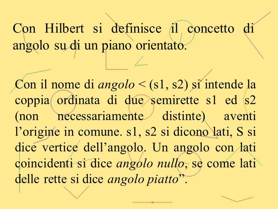 Con Hilbert si definisce il concetto di angolo su di un piano orientato. con il nome di angolo < (s1, s2) si intende la coppia ordinata di due semiret