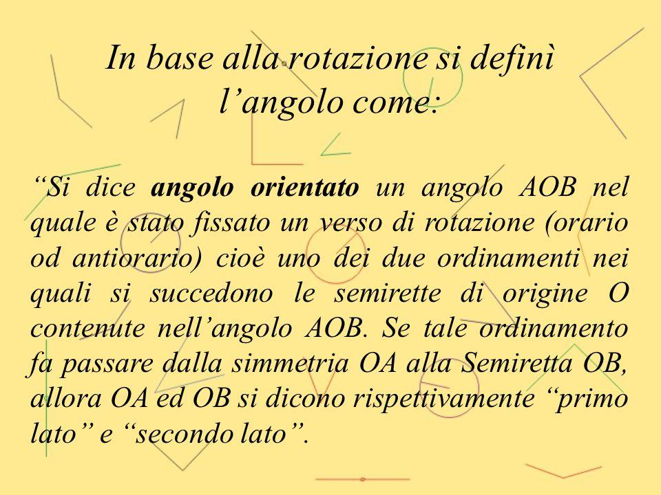 """In base alla rotazione si definì l'angolo come: """"Si dice angolo orientato un angolo AOB nel quale è stato fissato un verso di rotazione (orario od ant"""