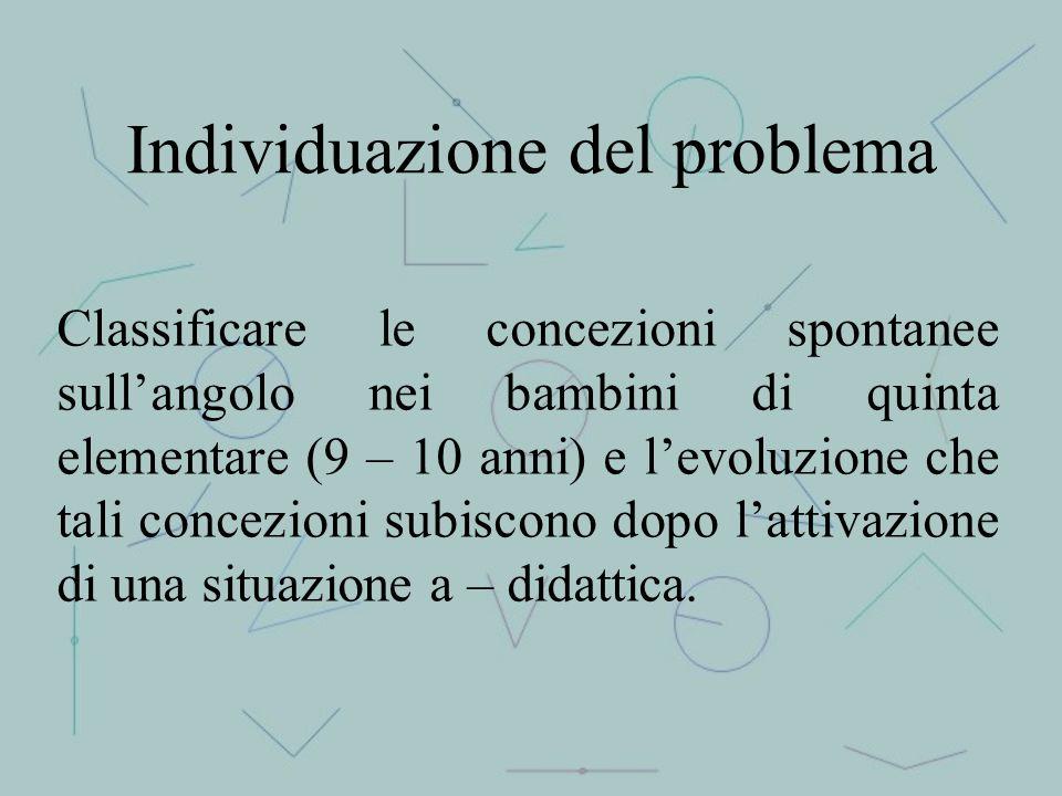 Individuazione del problema Classificare le concezioni spontanee sull'angolo nei bambini di quinta elementare (9 – 10 anni) e l'evoluzione che tali co