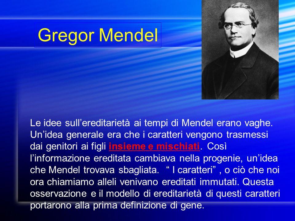 Gregor Mendel Le idee sull'ereditarietà ai tempi di Mendel erano vaghe. Un'idea generale era che i caratteri vengono trasmessi dai genitori ai figli i