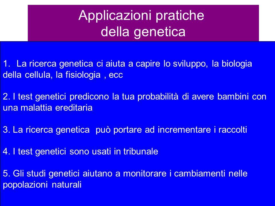 Applicazioni pratiche della genetica 1.La ricerca genetica ci aiuta a capire lo sviluppo, la biologia della cellula, la fisiologia, ecc 2. I test gene