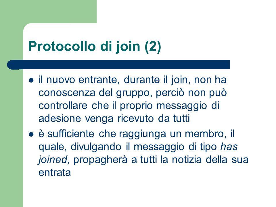 Protocollo di join (2) il nuovo entrante, durante il join, non ha conoscenza del gruppo, perciò non può controllare che il proprio messaggio di adesione venga ricevuto da tutti è sufficiente che raggiunga un membro, il quale, divulgando il messaggio di tipo has joined, propagherà a tutti la notizia della sua entrata