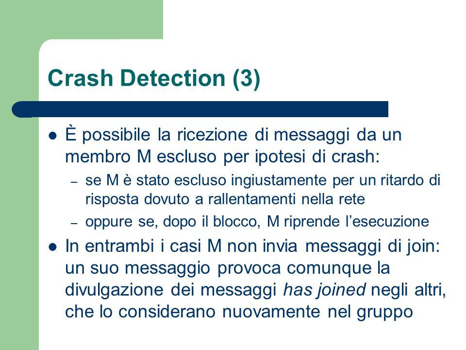 Crash Detection (3) È possibile la ricezione di messaggi da un membro M escluso per ipotesi di crash: – se M è stato escluso ingiustamente per un ritardo di risposta dovuto a rallentamenti nella rete – oppure se, dopo il blocco, M riprende l'esecuzione In entrambi i casi M non invia messaggi di join: un suo messaggio provoca comunque la divulgazione dei messaggi has joined negli altri, che lo considerano nuovamente nel gruppo