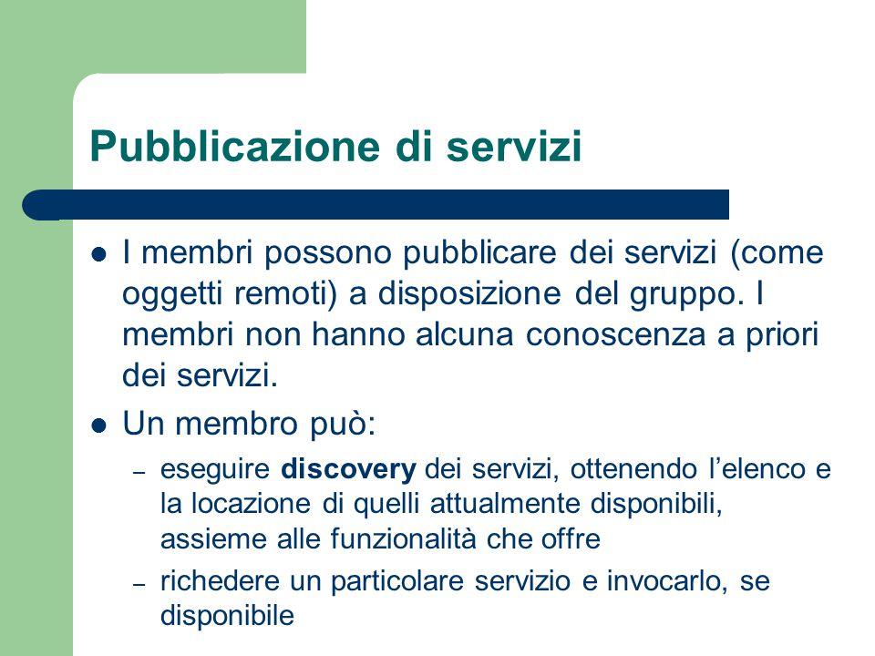 Pubblicazione di servizi I membri possono pubblicare dei servizi (come oggetti remoti) a disposizione del gruppo.