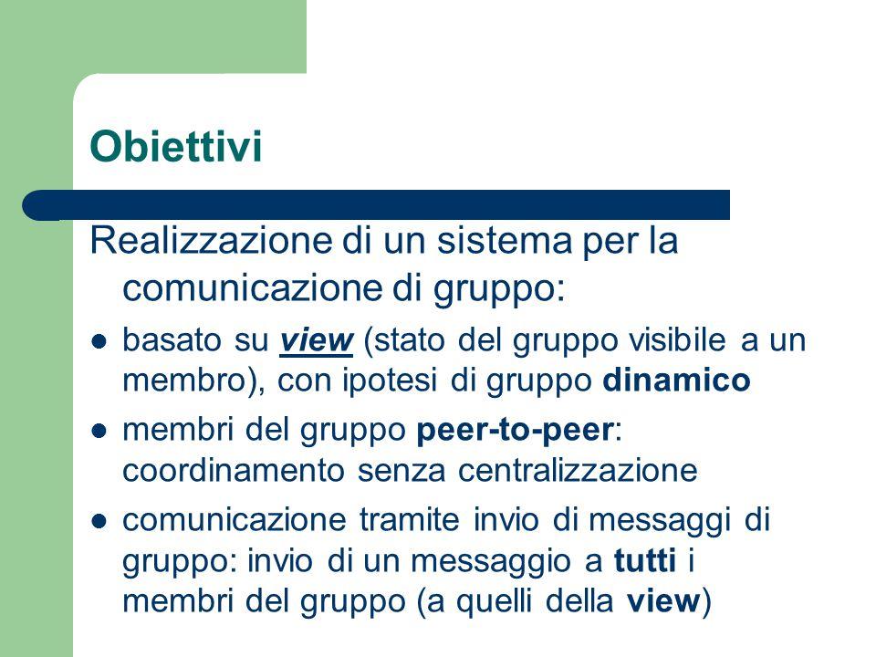Obiettivi Realizzazione di un sistema per la comunicazione di gruppo: basato su view (stato del gruppo visibile a un membro), con ipotesi di gruppo dinamico membri del gruppo peer-to-peer: coordinamento senza centralizzazione comunicazione tramite invio di messaggi di gruppo: invio di un messaggio a tutti i membri del gruppo (a quelli della view)