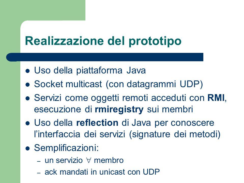 Realizzazione del prototipo Uso della piattaforma Java Socket multicast (con datagrammi UDP) Servizi come oggetti remoti acceduti con RMI, esecuzione di rmiregistry sui membri Uso della reflection di Java per conoscere l'interfaccia dei servizi (signature dei metodi) Semplificazioni: – un servizio  membro – ack mandati in unicast con UDP