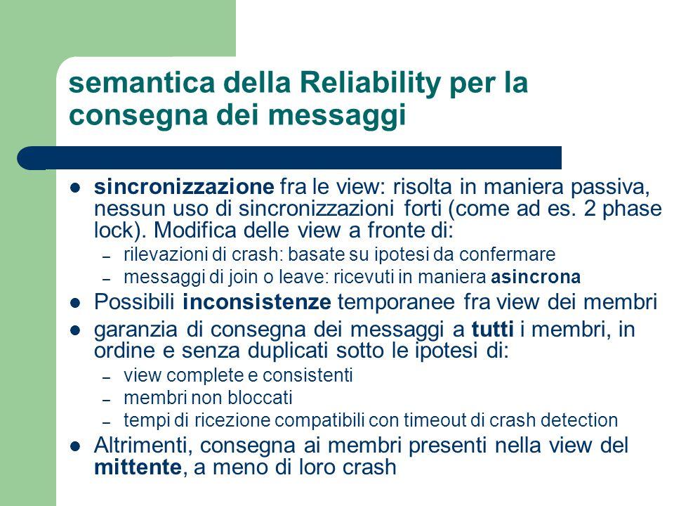 semantica della Reliability per la consegna dei messaggi sincronizzazione fra le view: risolta in maniera passiva, nessun uso di sincronizzazioni forti (come ad es.