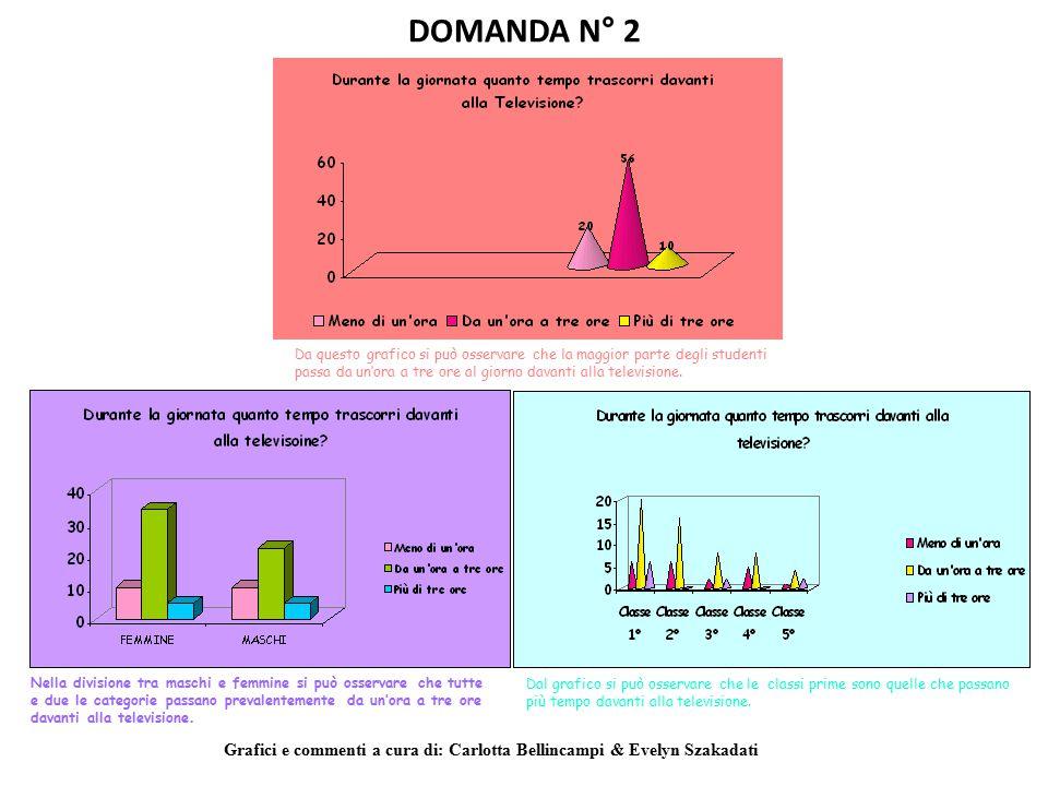 DOMANDA N° 2 Da questo grafico si può osservare che la maggior parte degli studenti passa da un'ora a tre ore al giorno davanti alla televisione. Nell