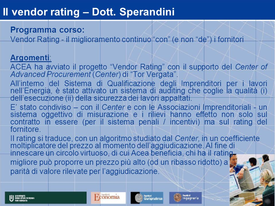 Il vendor rating – Dott.