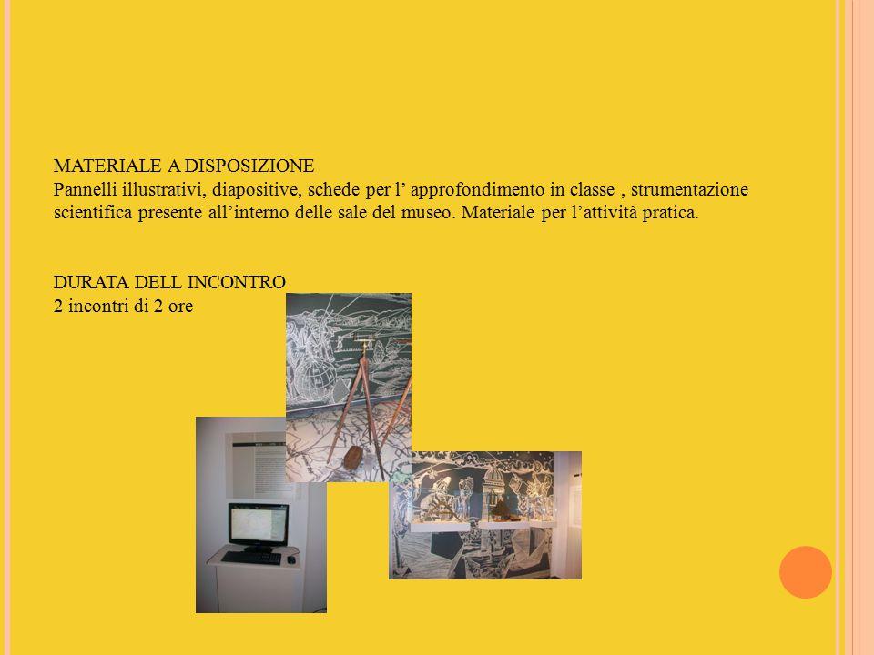 MATERIALE A DISPOSIZIONE Pannelli illustrativi, diapositive, schede per l' approfondimento in classe, strumentazione scientifica presente all'interno delle sale del museo.