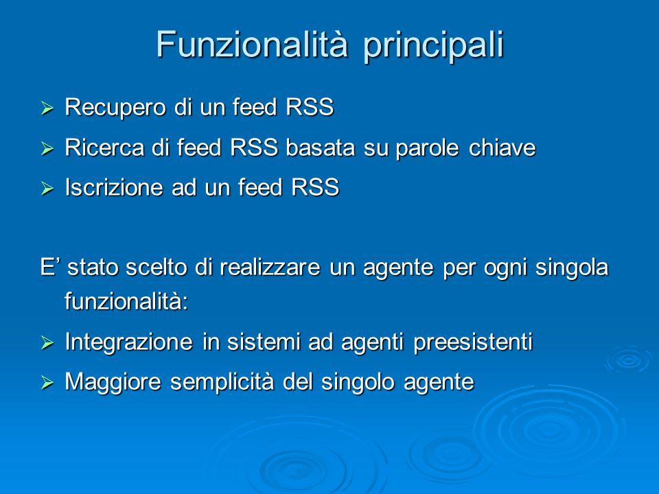 Funzionalità principali  Recupero di un feed RSS  Ricerca di feed RSS basata su parole chiave  Iscrizione ad un feed RSS E' stato scelto di realizzare un agente per ogni singola funzionalità:  Integrazione in sistemi ad agenti preesistenti  Maggiore semplicità del singolo agente