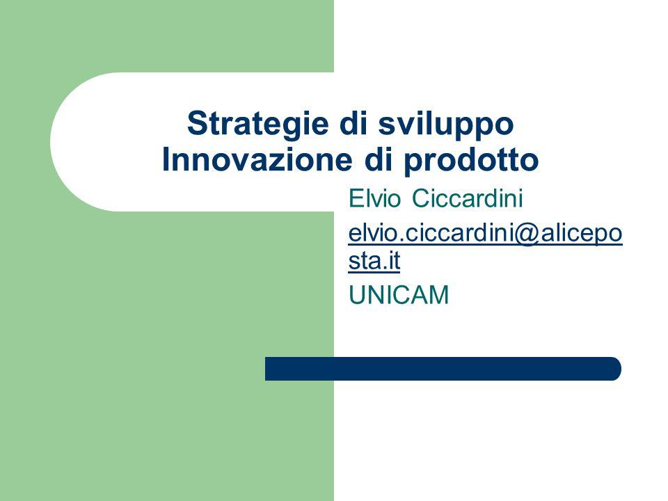Strategie di sviluppo Innovazione di prodotto Elvio Ciccardini elvio.ciccardini@alicepo sta.it UNICAM