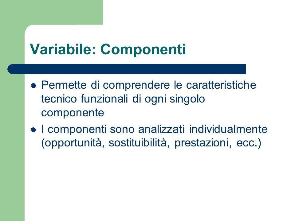 Variabile: Componenti Permette di comprendere le caratteristiche tecnico funzionali di ogni singolo componente I componenti sono analizzati individualmente (opportunità, sostituibilità, prestazioni, ecc.)
