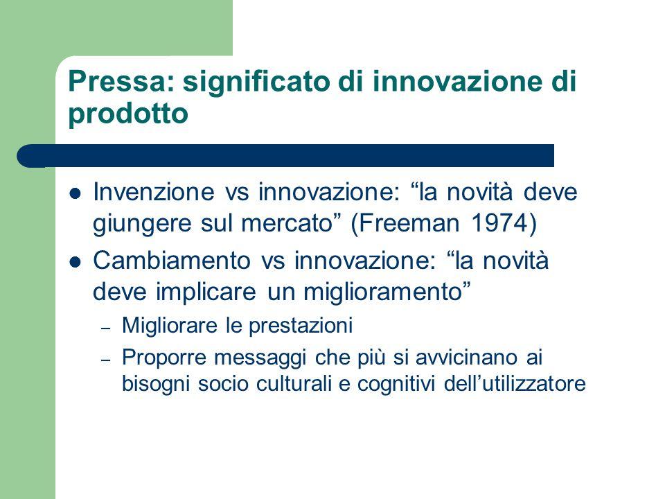 Pressa: significato di innovazione di prodotto Invenzione vs innovazione: la novità deve giungere sul mercato (Freeman 1974) Cambiamento vs innovazione: la novità deve implicare un miglioramento – Migliorare le prestazioni – Proporre messaggi che più si avvicinano ai bisogni socio culturali e cognitivi dell'utilizzatore
