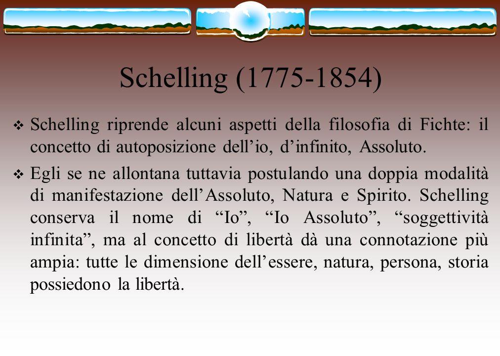 Schelling (1775-1854)  Schelling riprende alcuni aspetti della filosofia di Fichte: il concetto di autoposizione dell'io, d'infinito, Assoluto.  Egl